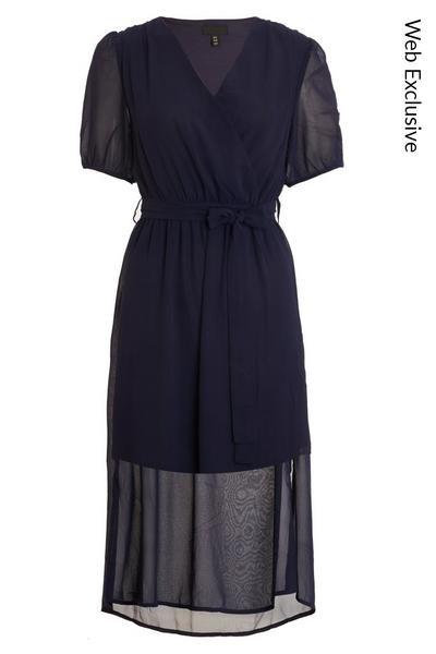 Navy Chiffon Puff Sleeve Midi Dress